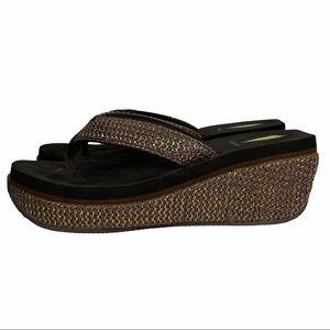 Volatile Bronze Wedge Platform Cushioned Flip Flop  Comfort Sandals Size 9